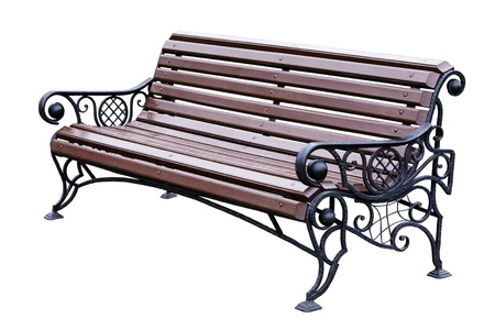 Forged decorative bench. Isolated over white background. photo