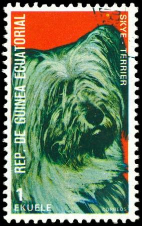 philately: EQUATORIAL GUINEA - CIRCA 1974: A stamp printed by  EQUATORIAL GUINEA shows dog Skye Terrier, series, circa 1974