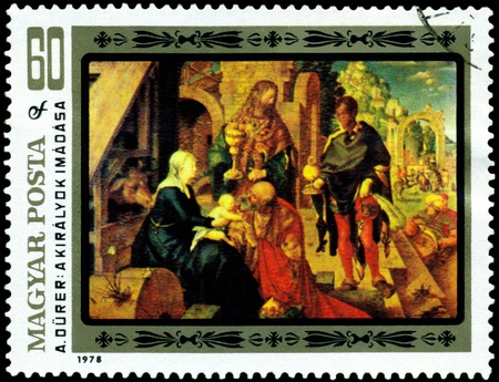 durer: HUNGARY -CIRCA 1978: a stamp printed by Hungary shows a picture of artist Albrecht Durer. Adoration of the Kings. series, circa 1978
