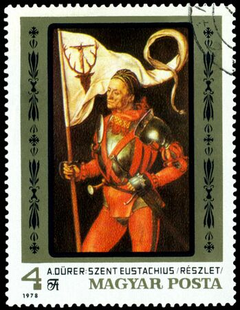 albrecht: HUNGARY -CIRCA 1978: a stamp printed by Hungary shows a picture of artist Albrecht Durer. Saint Eustatius. series, circa 1978