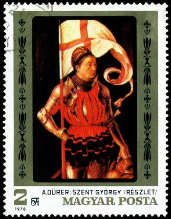 albrecht: HUNGARY -CIRCA 1978: a stamp printed by Hungary shows a picture of artist Albrecht Durer. Saint Georgiy. series, circa 1978
