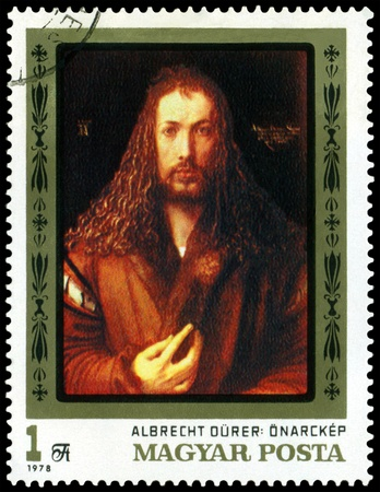 durer: HUNGARY -CIRCA 1978: a stamp printed by Hungary shows a picture of artist Albrecht Durer. Self - portrait. series, circa 1978