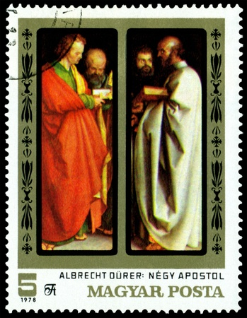 durer: HUNGARY -CIRCA 1978: a stamp printed by Hungary shows a picture of artist Albrecht Durer. The Four Apostles. series, circa 1978 Stock Photo