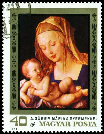 durer: HUNGARY -CIRCA 1978: a stamp printed by Hungary shows a picture of artist Albrecht Durer. Virgin and Child. series, circa 1978 Stock Photo