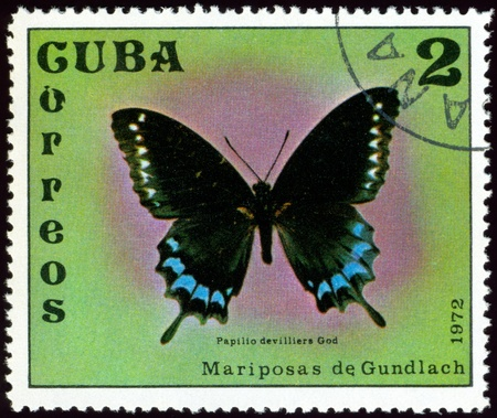 Cuba - CIRCA 1972: A stamp printed in Cuba shows butterfly with the inscription �Papilio devilliers God�, series, circa 1972. photo