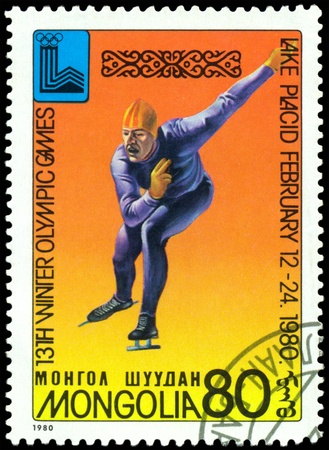 olympic symbol: Mongolia- CIRCA 1980: a stamp printed by Mongolia, shows skater. 13 Winter Olympic games in  Lake Placid. USA. circa 1980  Editorial