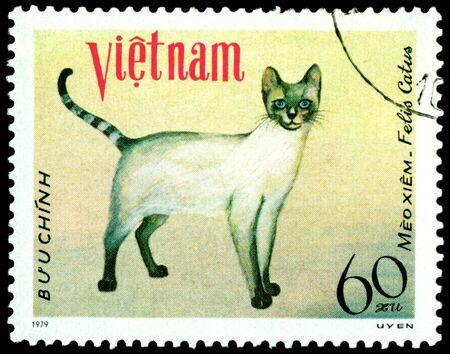 VIETNAM - CIRCA 1979: A stamp printed in Vietnam shows house cat Meo xiem , series, circa 1979 photo