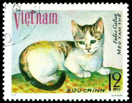 VIETNAM - CIRCA 1979: A stamp printed in Vietnam shows house cat Meo tam the, series, circa 1979 Stock Photo