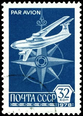 il: USSR - CIRCA 1978: A stamp printed in the USSR shows old plane IL - 76, circa 1978