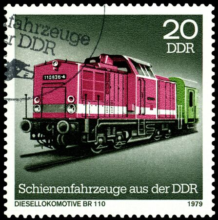 br: GDR - CIRCA 1979: A Stamp printed in the GDR  shows Diesel locomotive BR 110, circa 1979 Stock Photo