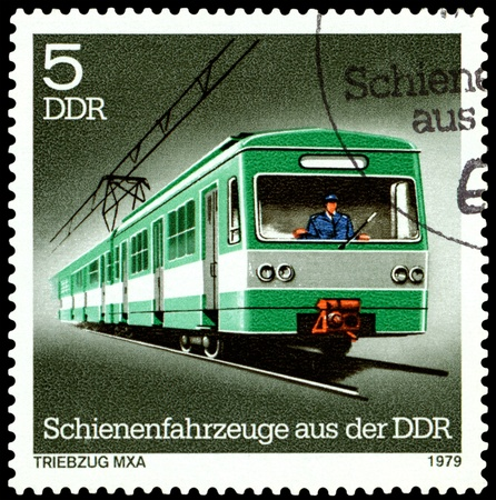 GDR - CIRCA 1979: A Stamp printed in the GDR  shows Self � Propelled Car, circa 1979 photo