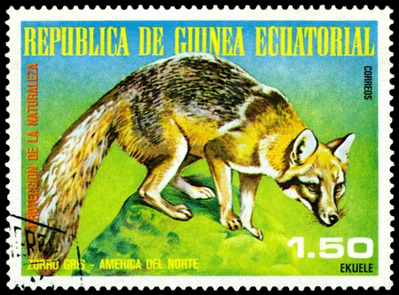 EQUATORIAL GUINEA - CIRCA 1977: A Stamp sheet printed in EQUATORIAL GUINEA shows a collection of Wild animals of the North America, series, circa 1977 Stock Photo - 8670127