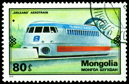 Mongolia - CIRCA 1979: A Stamp printed in the  Mongolia shows speed train �Orleans� Aerotrain, series, circa 1979 Stock Photo