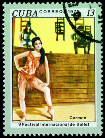 Cuba - CIRCA 1976: a stamp printed by Cuba  shows the scene from ballet Carmen. 5 th Intl. Ballet Festival. Havana. Series, circa 1976 photo