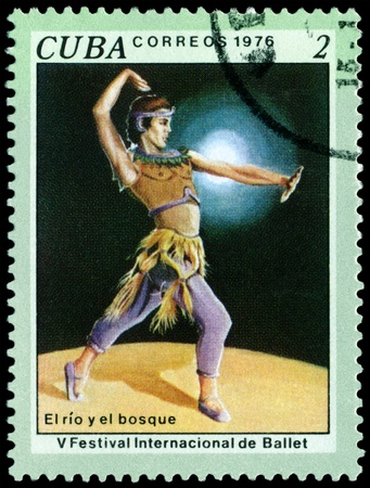 Cuba - CIRCA 1976: a stamp printed by Cuba  shows the scene from ballet The River and the Forest. 5 th Intl. Ballet Festival. Havana. Series, circa 1976