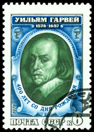 naturalist: USSR -CIRCA 1978: A Stamp printed in the USSR  shows  Portrait Uiliyam Garvey - the great English naturalist and physician, circa 1978 Stock Photo