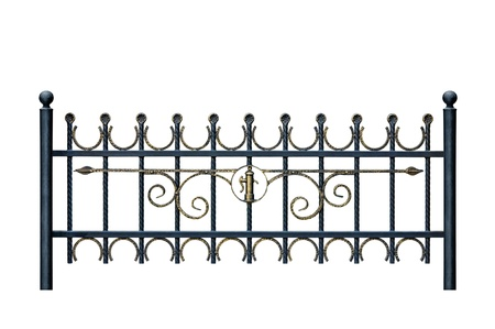 iron gate: Original forged decorative  fence. Isolated over white background.