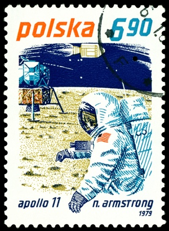 Poland- CIRCA 1979:  a stamp printed by  Poland  shows  Neil Armstrong - first man on the Moon, circa 1979.