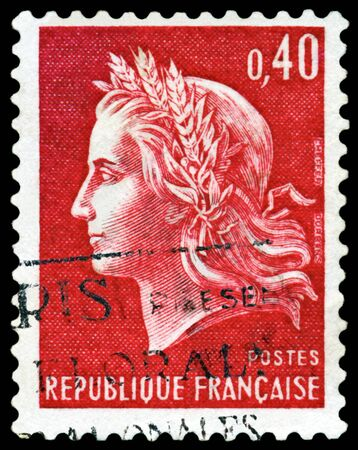 France - CIRCA 1967:  A stamp printed in France,  shows  Marianne - Symbol of the French republic, circa 1967. photo