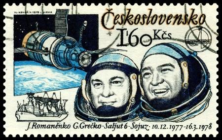 Czechoslovakia  - CIRCA 1978: A post stamp printed in Czechoslovakia  shows russian astronauts  YUriy Romanenko and Georgiy Grechko. Circa 1978