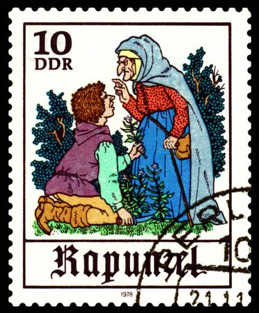 rapunzel: GDR - CIRCA 1978:  A stamp printed in GDR  shows  Father and  Witch,  Scenes from  fairy tale  �Rapunzel� ,  series, circa 1978. Stock Photo