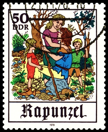 rapunzel: GDR - CIRCA 1978:  A stamp printed in GDR  shows  Scenes from  fairy tale  �Rapunzel� ,  series, circa 1978.