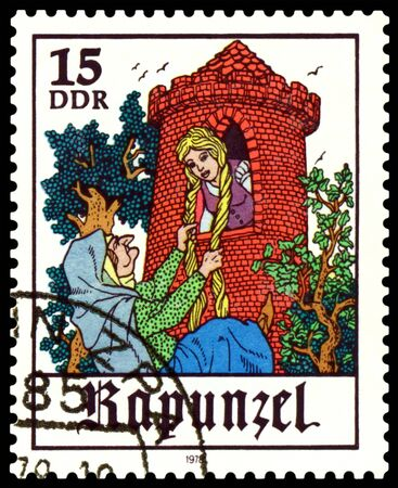 rapunzel: GDR - CIRCA 1978:  A stamp printed in GDR  shows  Scenes from  fairy tale  �Rapunzel� ,  series, circa 1978 Stock Photo