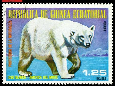 EQUATORIAL GUINEA - CIRCA 1977: A Stamp sheet printed in EQUATORIAL GUINEA shows a collection of Wild animals of the North America, Polar bear, series, circa 1977