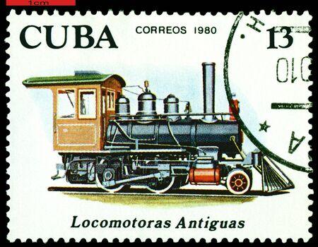 Cuba - CIRCA 1980: A Stamp printed in the  Cuba  shows  antique  locomotive 2-4-0, series, circa 1980 Stok Fotoğraf