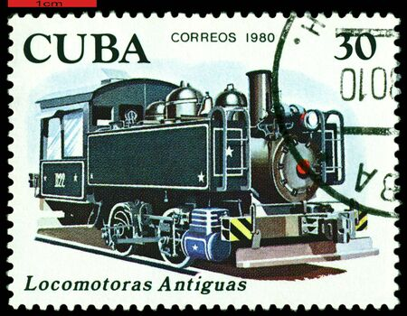 Cuba - CIRCA 1980: A Stamp printed in the  Cuba  shows  antique Oil combustion engine 1909, series, circa 1980 photo