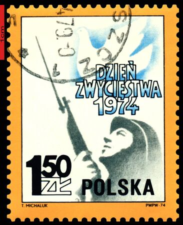 fascism: POLAND  - CIRCA 1974: a stamp printed by Poland shows  Dove and Soldier, 29 th anniversary of victory over Fascism, circa 1974