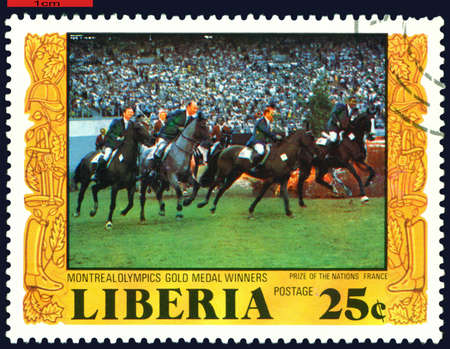 LIBERIA - CIRCA 1977: a stamp printed  by  Liberia, shows Gold medal Winners France . Olympic games in Montreal, circa 1976 Canada photo