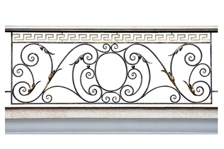 balcony design: Decorative  fence of the balcony, gallerie in old-time stiletto. Isolated over white background. Stock Photo