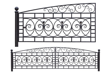 forging: Modern light, forged, decorative gates.  Isolated over white background. Stock Photo