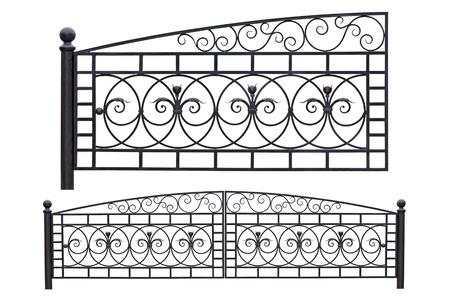 Modern light, forged, decorative gates.  Isolated over white background. Stock Photo