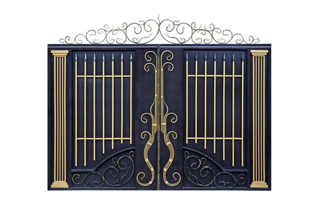 Modern  forged  decorative  gates with ornament.  Isolated over white background. photo