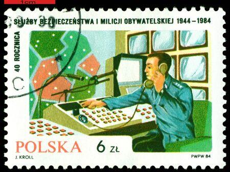 militia: POLAND  - CIRCA 1984: a stamp printed by Poland shows Centre of the checking, 40 th anniversary Polish militia, circa 1984