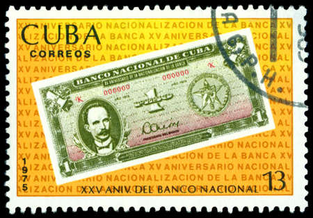 philately: Cuba - CIRCA 1975: A Stamp printed in the Cuba shows  banknote 1 peso , circa 1975