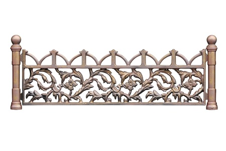 Old-time forged decorative  fence. Isolated over white background. photo
