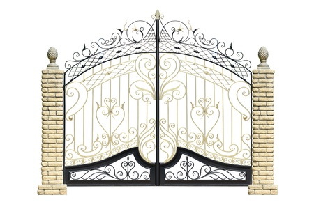 locked: Old forged  decorative  gates  decorated by ornament. Isolated over white background.