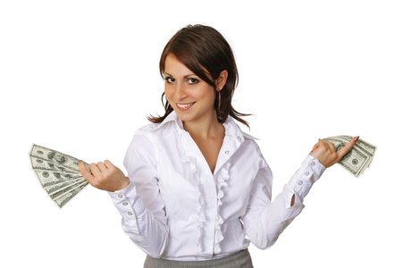 cash on hand: Cheerful young  woman  showing cash and smiling Stock Photo
