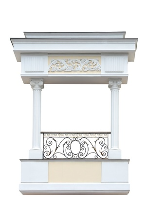 Decorative   balcony  in old-time stiletto. Isolated over white background. photo