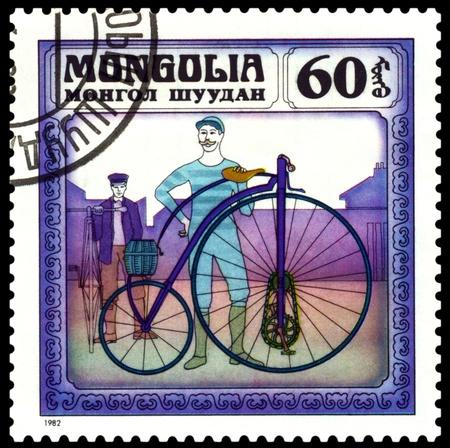 MONGOLIA - CIRCA 1982: A stamp  printed  in Mongolia shows  old-time  � Kangaroo�  bicycle  1877,  series  Historic  bicycle,  circa 1982   Stock Photo