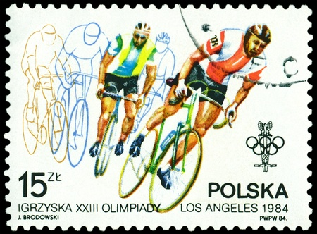 perforated stamp: POLAND - CIRCA 1944: a stamp printed by Poland, shows bicyclists. Olympic games in Los Angeles 1984, circa 1984 Editorial