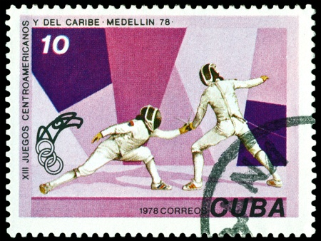 CUBA- CIRCA 1978: a stamp printed by Cuba, shows Athletes, 13th Central American and Carribean Games. , circa 1978