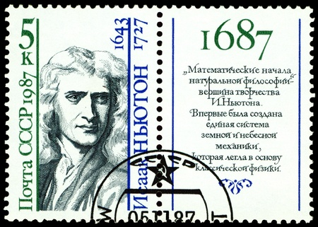 isaac newton: Russia - CIRCA 1987: A Stamp printed in the Russia shows  Sir Isaac Newton - the great  English physicist, mathematician, public  figure, series