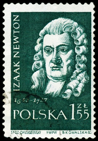 mathematician: POLAND - CIRCA 1959: A Stamp printed in the Poland shows  Sir Isaac Newton - the great  English physicist, mathematician, public  figure, series  Stock Photo