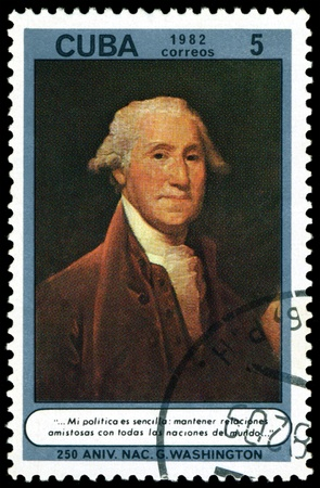 george washington: CUBA - CIRCA 1982: A stamp printed in Cuba shows portrait   George Washington, 250th Birth Anniv., series