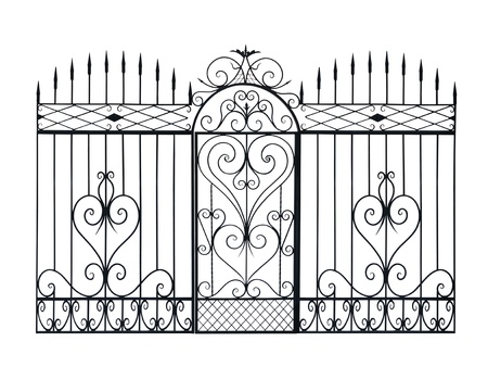 forging: Old forged fence and door  decorated by ornament. Isolated over white background.
