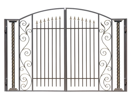 iron gate: Modern light decorative forged  gates.  Isolated over white background. Stock Photo